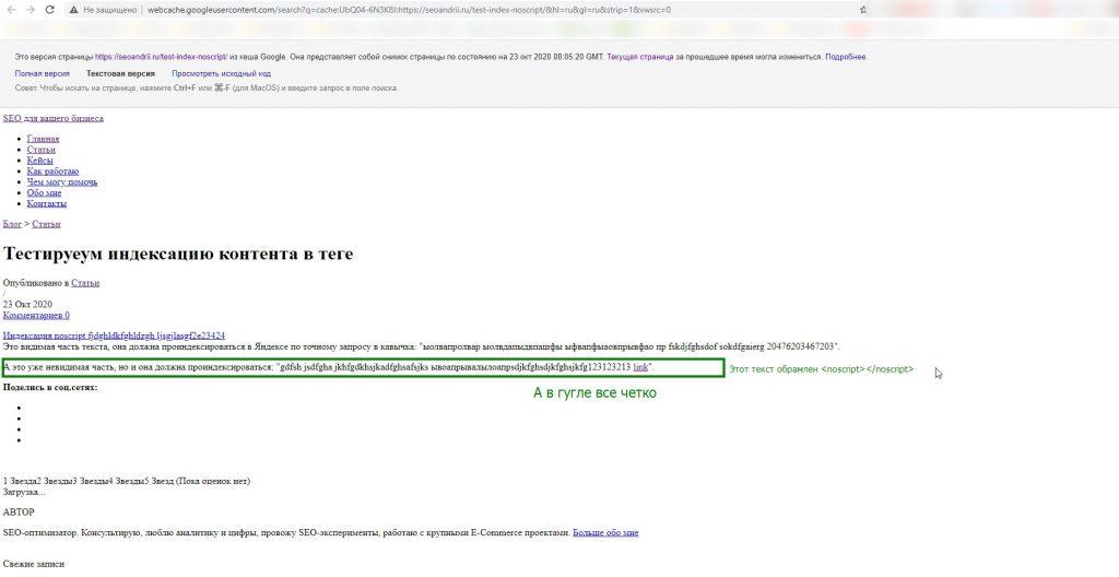 Текст в noscript проиндексировался Гуглом и попал в кеш тектсовой версии